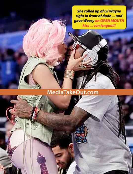 nicki minaj passionate kiss with lil wayne in front of