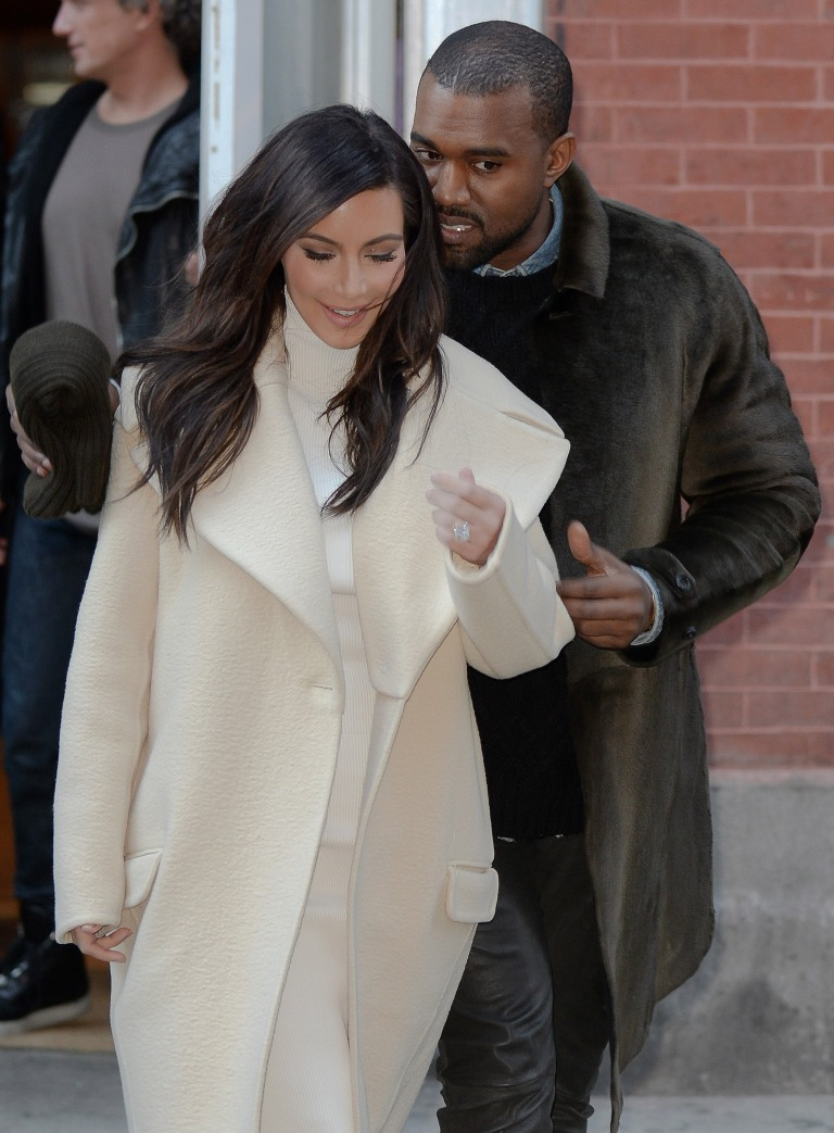Kim Kardashian and Kanye West leaving ABC Kitchen restaurant in Manhattan